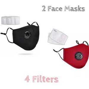 🔺DEAL🔺2 Washable Black Red Face Cover Mask
